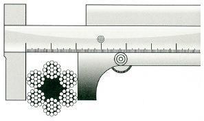 Неправильное измерение диаметра каната при помощи штангенциркуля
