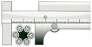 Правильное измерение диаметра каната при помощи штангенциркуля